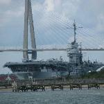 USS Yorktown with the Ravenel bridge, taken from the ferry to Fort Sumter