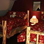 The hayloft has two full-size beds.