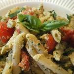 Chicken Penne Pasta with fresh basil pesto