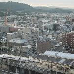 Shinkansen leaving, seen from room