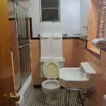 Nice tiled floor in clean bathroom