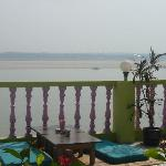 View to Ganges river.  Optional seating on mats or at a table