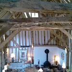 Stunning beamed ceiling in main barn