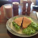 Strawberry shake and veggie burger