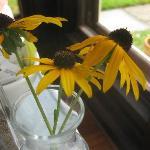 Black-Eyed Susan flower arrangement on the tables