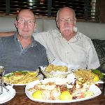 My husband Allan and Friend Walter enjoying the fish platter