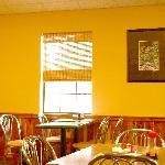 Simple decor, clean dining area.