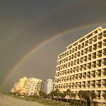 Our own rainbow from the beach in front of the hotel