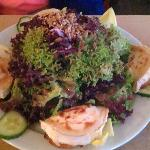 salad with fried cheese; excellent dressing