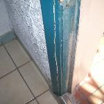 broken door frame, front door