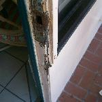 broken rotted door frame