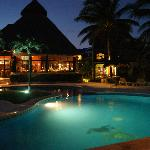 Restaurant/pool at night