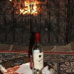 Our fireplace with a wine and cheese tray!