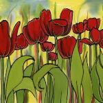 One of Fiona's Vibrant paintings on silk,