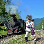 A newly-wed young couple celebrate their wedding in the Vaser Valley