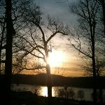Winter sunset over the Hudson, at Marist