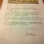In-room letter announcing construction plans