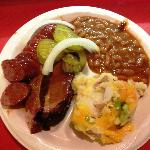 Hot Link and Brisket with mashed potatoes and beans.
