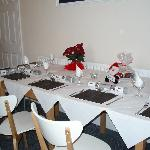 tables laid for dinner