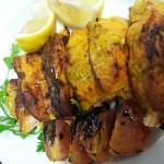flame-grilled salmon with herb rice on wednsdsys