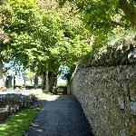 Road down to the crosses and tower