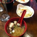 soupe miso et salade