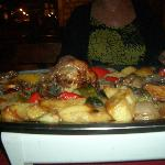Lamb cooked under iron bell, delicious