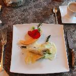 Breakfast 4 October 2012 - Smoked Turkey and Asparagus Crepe