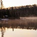 Morning steam off East Bearskin Lake from our dock