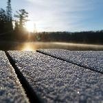 Morning frost on our dock
