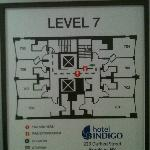 Here is the floorplan--I was in room 705--it did not have an adjoining door to 706