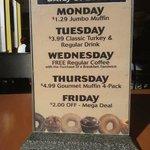 Daily Specials... I like Tuesday's
