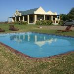 The accommodation and pool area