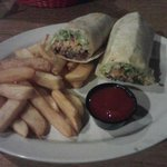 Shredded beef wrap and Steak Fries
