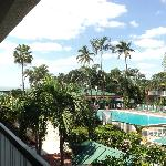 View of pool and tiki bar from our room on second floor.