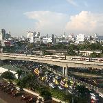 Uitzicht op de snelwegen en fly-overs van Bangkok