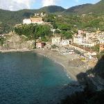 Sicht von der Essterrasse auf Monterosso.