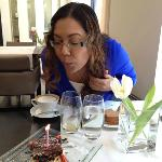 Me and my birthday cake in the dining room at O&B!