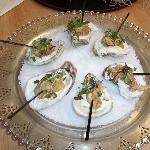 Cornmeal Crusted Oysters with Horseradish Cream & Micro Greens