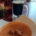 tomato bisque and local oatmeal stout
