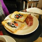 Hot breakfast from menu of choices, French Toast (yum)