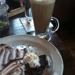 Flourless chocolate torte and elaborate alcoholic coffee