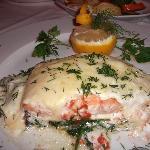 Salmon in wine sauce