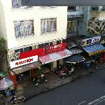 Day view of Binh An Hostel opposite the hotel