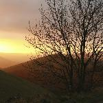 View into the valley - sunset