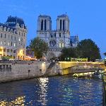 the river seine, and notre dame, this view is just a two minute walk from the mont blanc