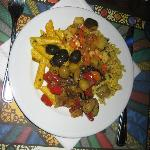 My dish of cold starters. Pasta, salads, olives.