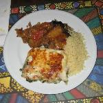 Spinach lasagne, moussaka, couscous.