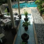 View of pool & dining area