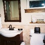 Vaquero Cottage bathroom - to the left is a huge tile walk in shower :)